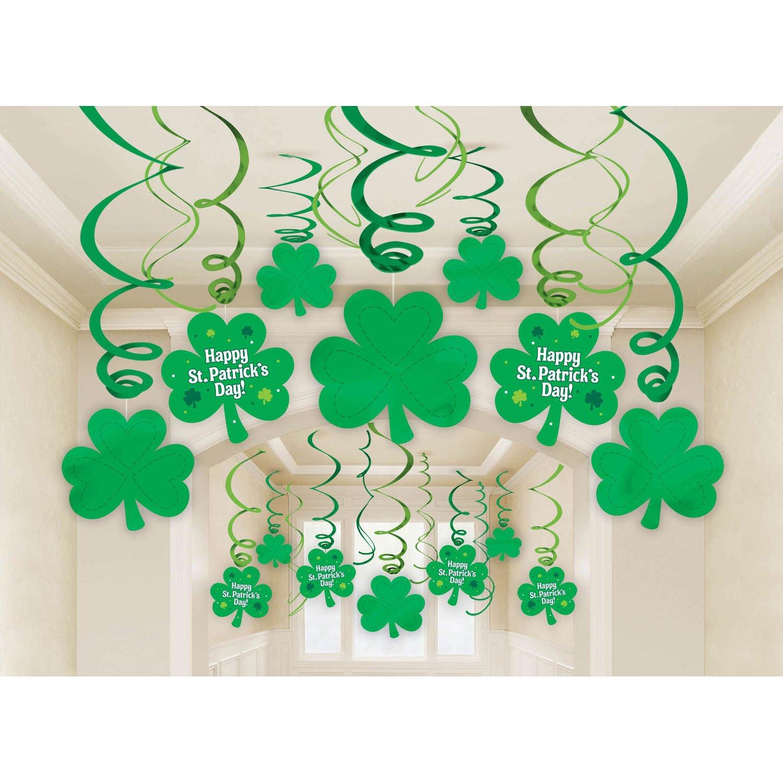 amazon com amscan lucky irish green st patrick u0027s day foil swirl