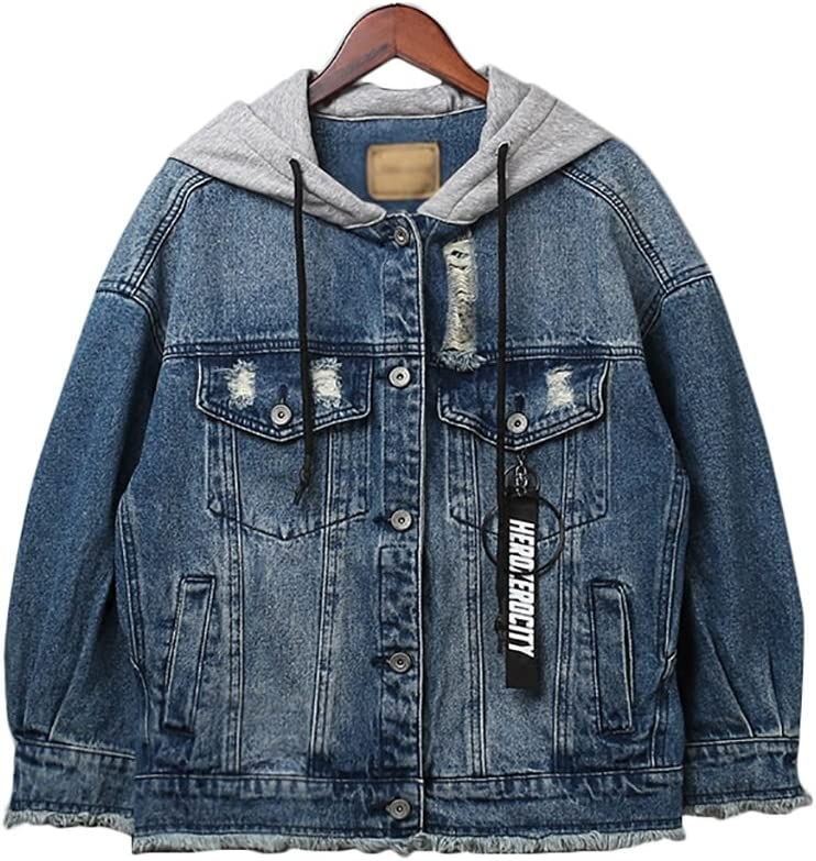 Color : Light blue , Size : L TSINY G Women Long Sleeve Casual Boyfriend Short Denim Jacket