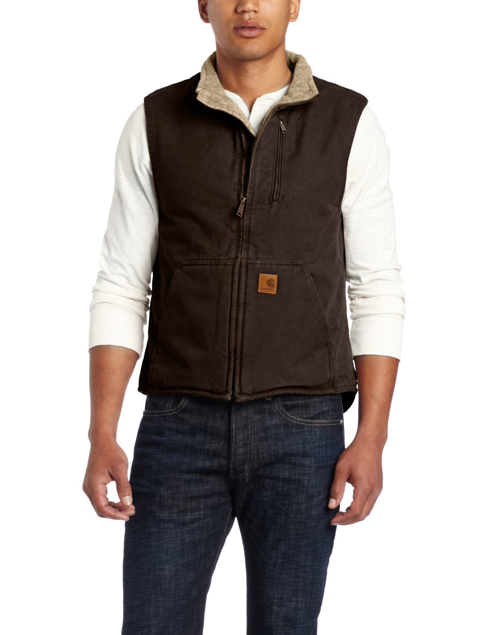 Carhartt Men's Sherpa Lined Sandstone Mock Neck Vest V33,Dark Brown,Large