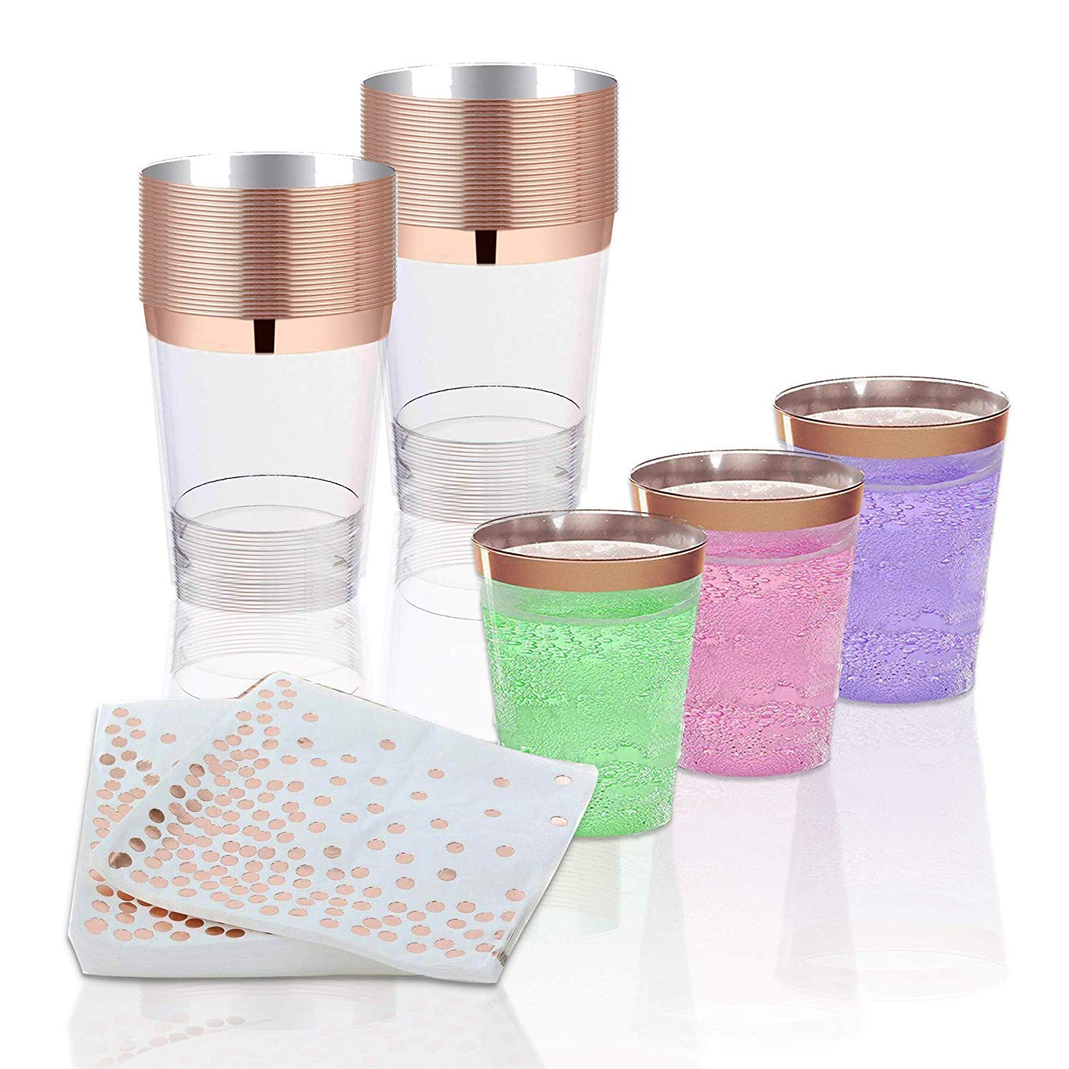 H3 Innovations-200pc Rose Gold Plastic Plates, Rose Gold Silverware, Rose Gold Plates, Rose Gold Cups, Rose Gold Napkins, Rose Gold Straws, Rose Gold Disposable Dinnerware by H3 Innovations (Image #3)