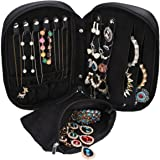 WODISON Carry-on Travel Jewelry Case Organizer with Removable Pouch Black