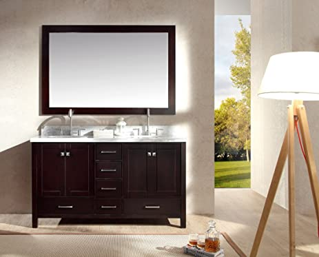 Ariel A061D ESP Cambridge 61u0026quot; Double Sink Solid Wood Bathroom Vanity  Set In Espresso