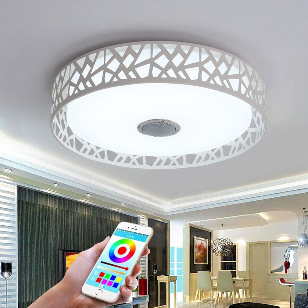32W LED Lámpara de Techo Integrado Bluetooth Música Altavoz Siete Colores Temperatura Lámpara de Techo Moderno Redondo Hierro El Plastico Iluminación de Techo Por Cuarto Restaurante Sala Comedor Ø45cm [Clase de eficiencia energética A++] sxyszy