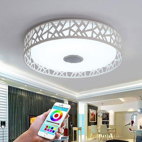 32W LED Lámpara de Techo Integrado Bluetooth Música Altavoz Siete Colores Temperatura Lámpara de Techo Moderno Redondo Hierro El Plastico Iluminación ...