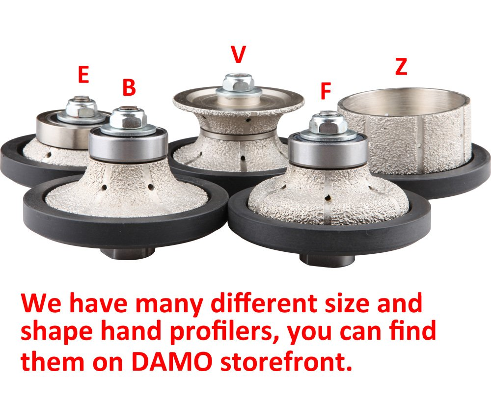 DAMO 3/16 inch Demi Bullnose Half Bullnose Roundover Coarse Diamond Hand Profiler Router Bit Profile Wheel with 5/8-11 Thread for Granite Concrete Marble Countertop Edge by DAMO