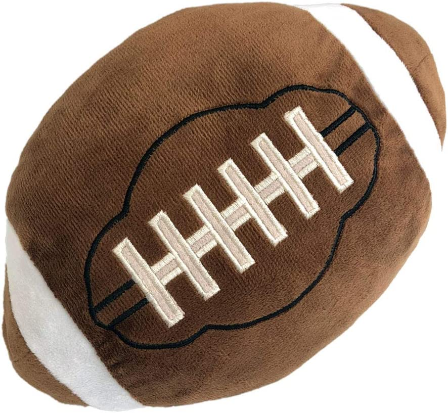 URSUN Football Plush Pillow Fluffy Durable Football Pillows Stuffed Football Throw Pillow Soft Sports Ball Interactive Football Creative Room Decorations Birthday Party Gift for Kids 11 Inches