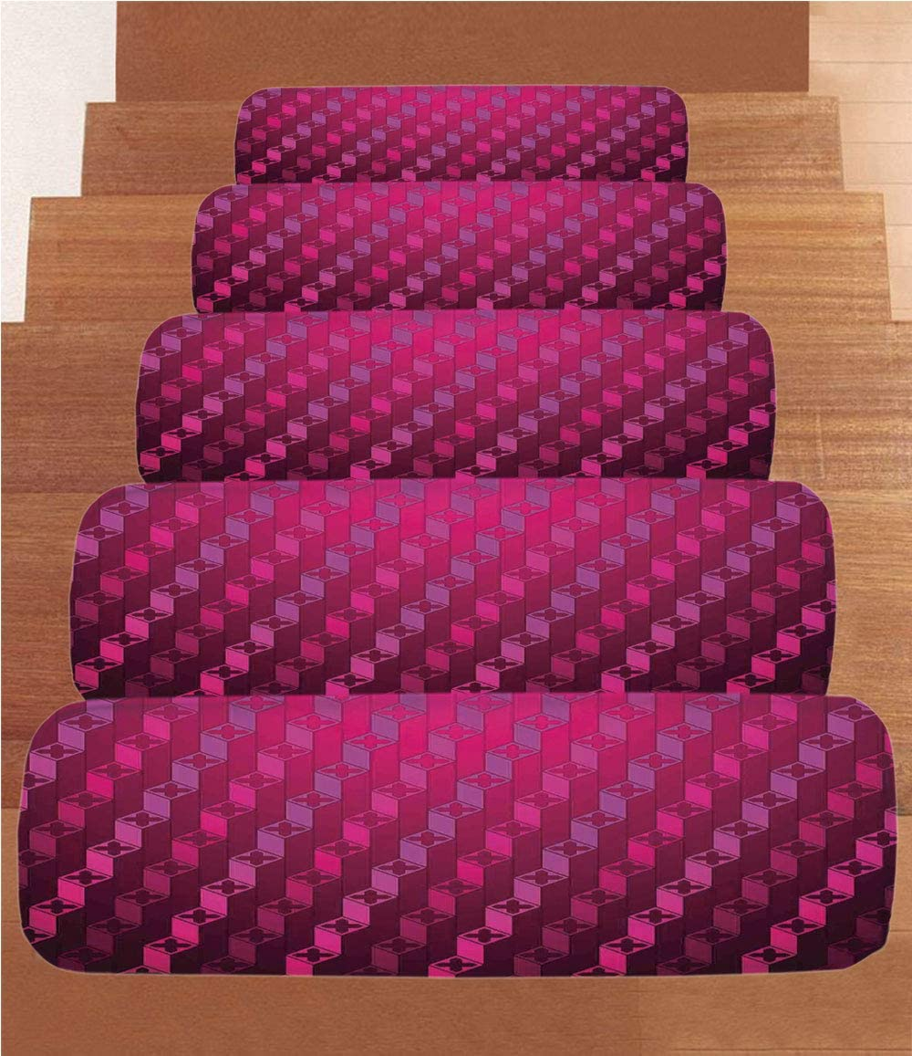 "Magenta Decor Coral Fleece Stair Treads,Stair Tread Mats,Abstract Stripe Psychedelic Motif Fashion Gradient Retro Structured Grid Art,(Set of 5) 8.6""x27.5""Taffy Rouge"