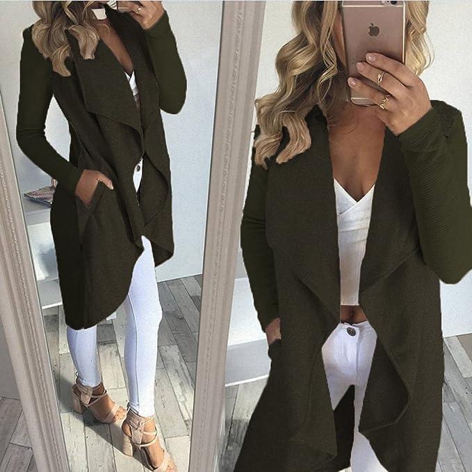 Tomwell Autunno Donna Cardigan Aperto Davanti A Maniche Lunghe Orlo Irregolare Giacca Breve Blazer Cappotto Jacket con Tasca