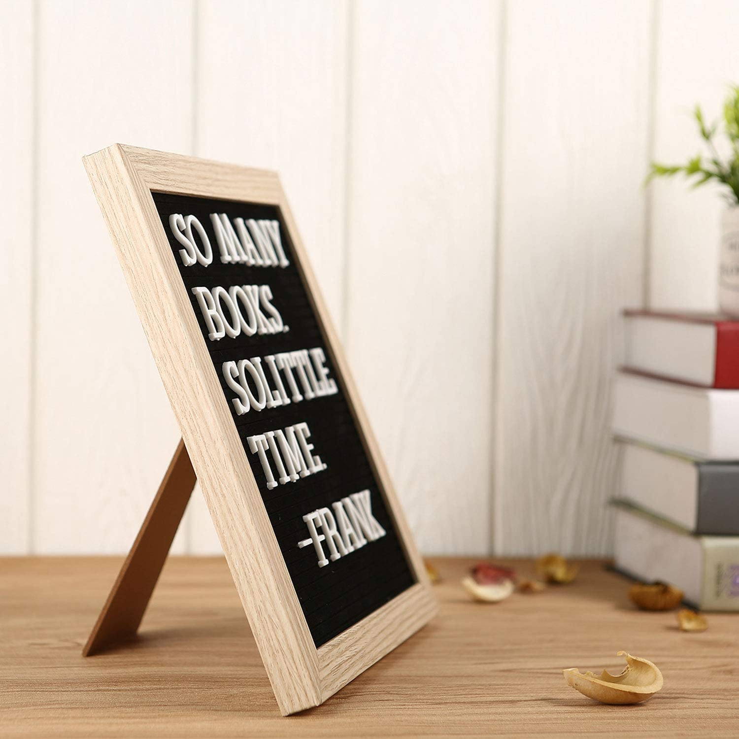 10x10 inches with Display Stand Wood Frame by C Crystal Lemon Letter Board by Crystal Lemon Felt Letter Board Black Changeable Wooden Message Board Sign Wall Mount