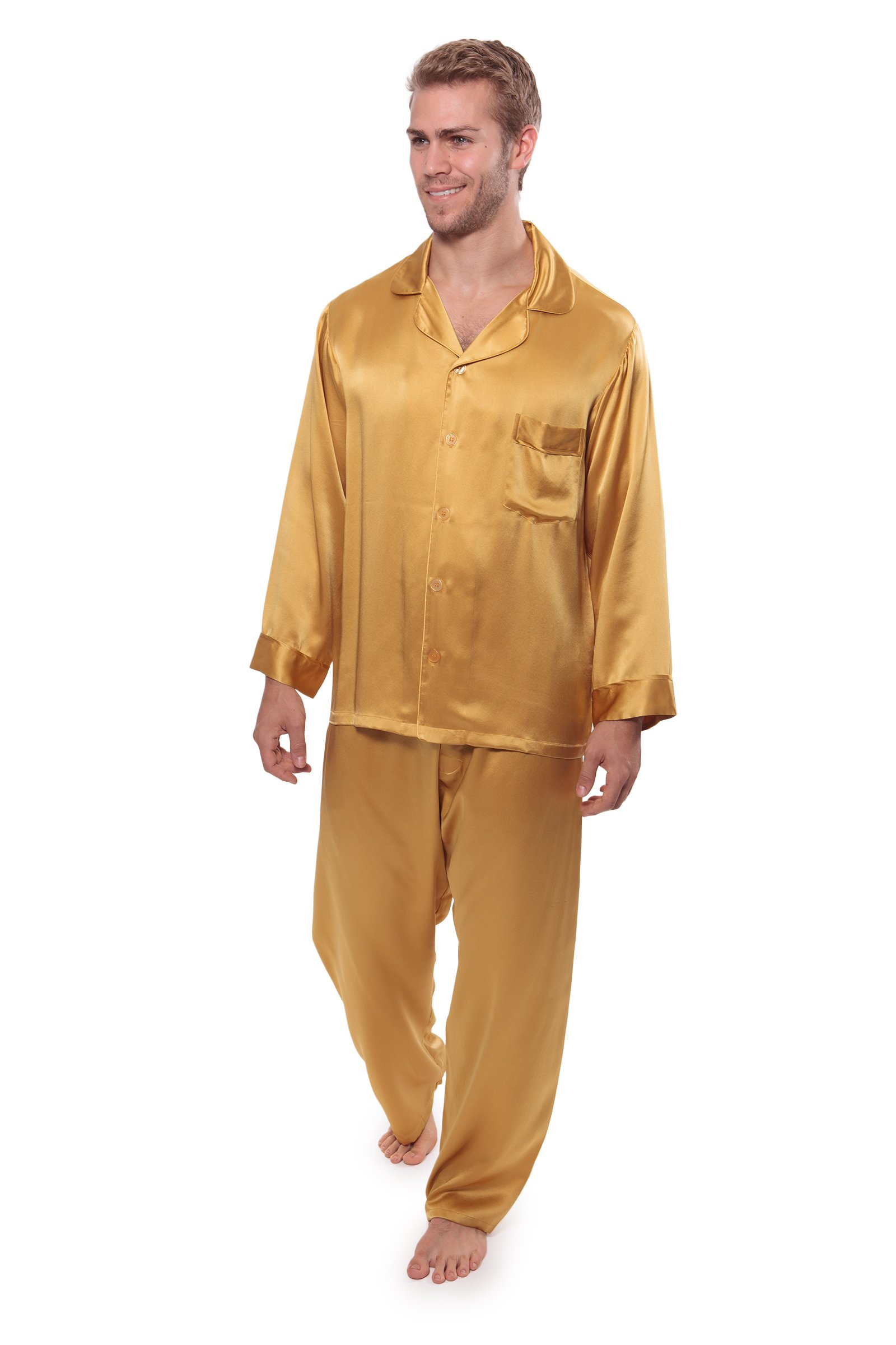TexereSilk Men's 100% Silk Pajama Set (Milaroma, Gold, XL) Great Gifts for Men
