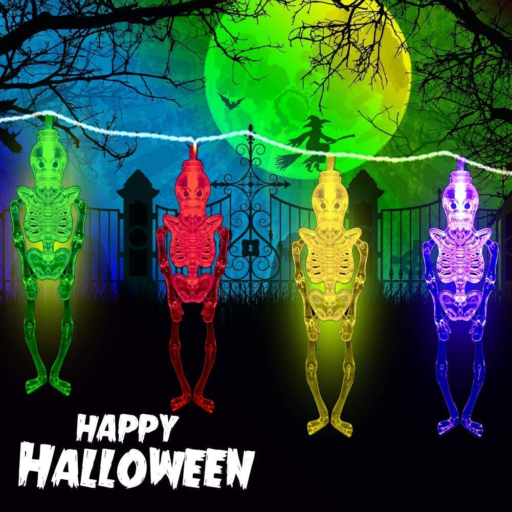 Halloween Decorations Lights, Battery Operated Colorful Skull Skeleton String Lights, With Two Lighting Modes, 9.84 feet 20 LED Fairy Lights for Halloween Indoor/Outdoor Decor, Waterproof and Safe