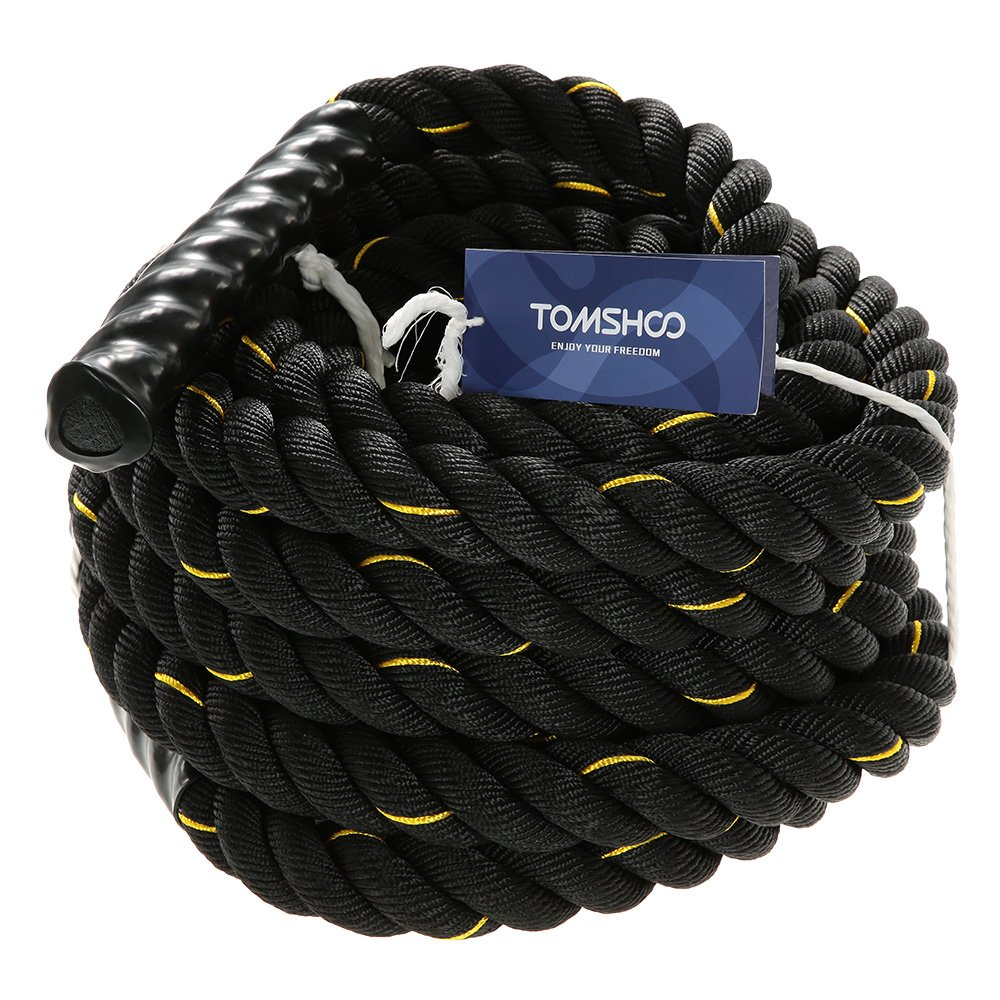 TOMSHOO Battle Rope Workout Training Undulation Exercise Fitness Rope, 38 mm Diameter