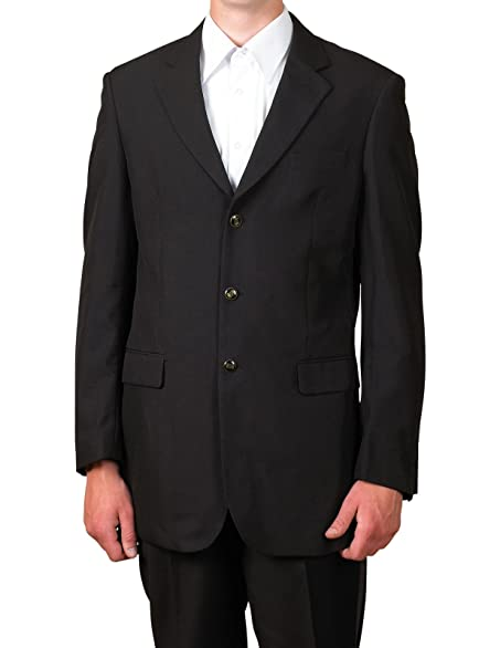 New Mens 3 Button Single Breasted Black Blazer Sportcoat Suit ...