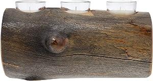 Triple Candle Holder Wooden Aspen Log Hand Carved