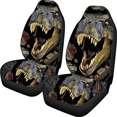 Babrukda 3D Dinosaur T-rex Pattern Car Seat Covers for Front Seat 2 PCS Saddle Flexible Polyester Back Flat Cloth Car Full Wrapping Edge Gray: Automotive