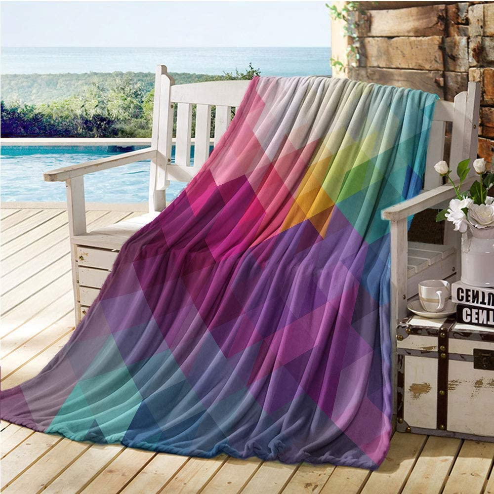 """Mademai Rainbow Swaddle Blanket,Colorful Abstract Geometric Pattern with Triangles Polygon and Ohter Shapes Rainbow,Kids Blankets Multicolor 60""""x80"""""""