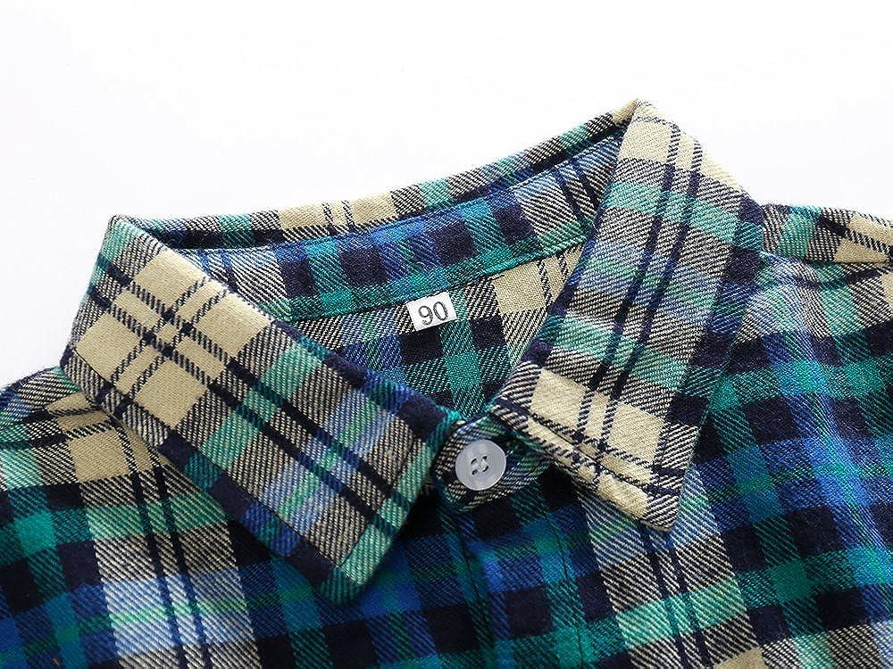 Kimocat Gentleman Woven Shirt Set Jeans Suit Boy Denim Pant Plaid Button-Down Long Sleeve Outfits