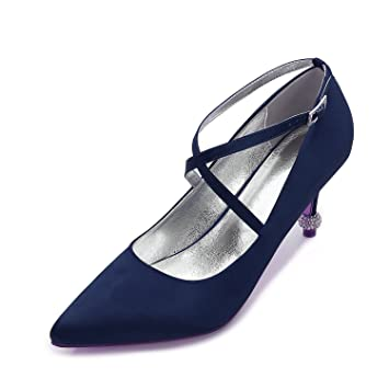 bd858e81eb Qingchunhuangtang@ Hochzeit Schuhe Brautschuhe Seide Satin High-Heeled  Schuhe Flache Mund Tipp Mode Schuhe