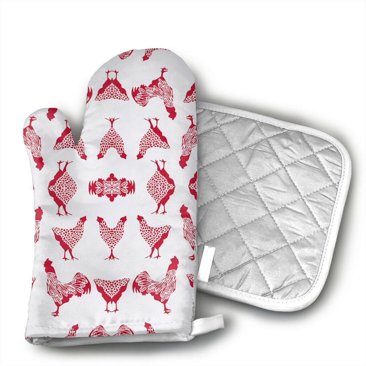 HAIQLK Chicken Red On White Oven Mitts of Quilted Cotton Lining - Heat Resistant Kitchen Gloves,Flame Oven Mitt Set