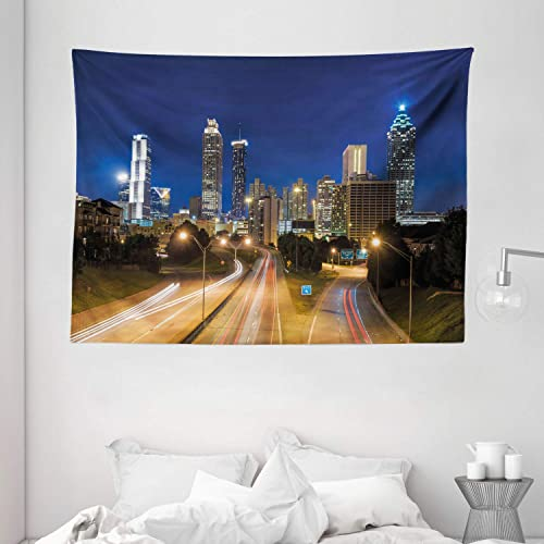 Ambesonne Urban Tapestry, Image of Atlanta Skyline Twilight with Highway Buildings Skyscrapers Blurred Motion, Wide Wall Hanging for Bedroom Living Room Dorm, 80 X 60 , Navy Gold