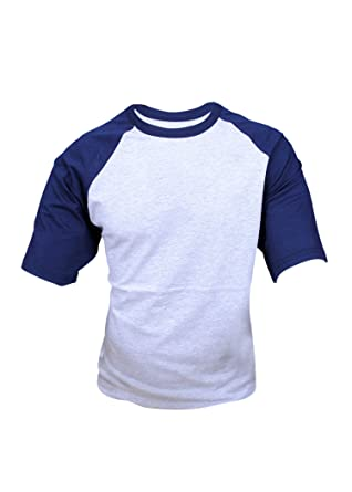 2106c3c6e ILTEX Mens Raglan Short Sleeve Baseball T-Shirts (Small, Heather-Grey/