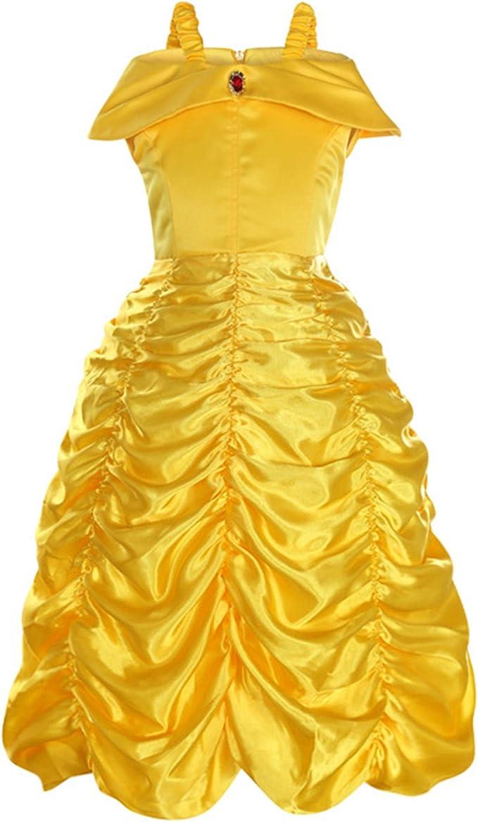 DJSJ- Bella Vestido Niña Disfraz Costume Amarillo Halloween ...