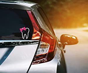 """Lplpol Tooth with Bow Vinyl Decal, Dental Profession Car Window Sticker, Decals for Dentist, Dental Hygienist, Dental Assistant- Girl Tooth Sticker 6"""""""