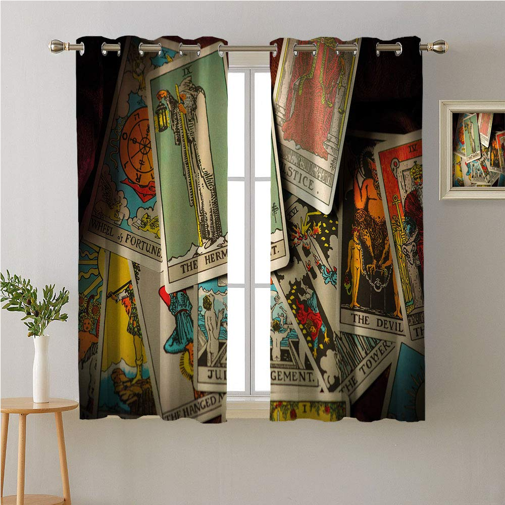 Jinguizi Tarot Card Grommet Curtain Kids,A Pile of Mystical Fortune Telling Elements Jumbled Together Fantasy Themes,2 Panel Darkening Curtains,96W x 72L
