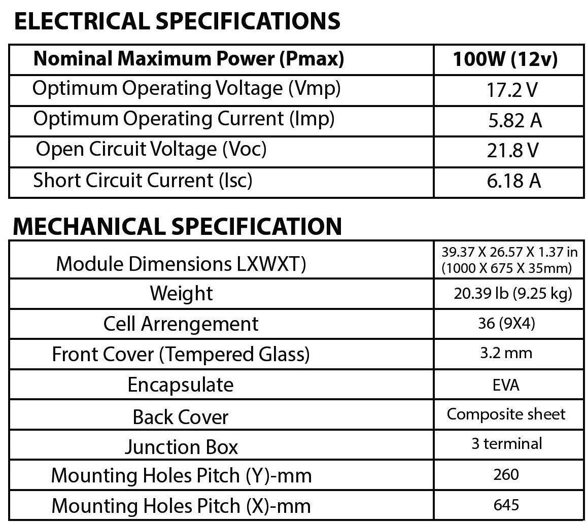 Sonali Solar 100 Watt 100W 12 Volt 12V Monocrystalline Solar Panel with MC4 connectors. Battery Charger RV Boat Camping Off Grid