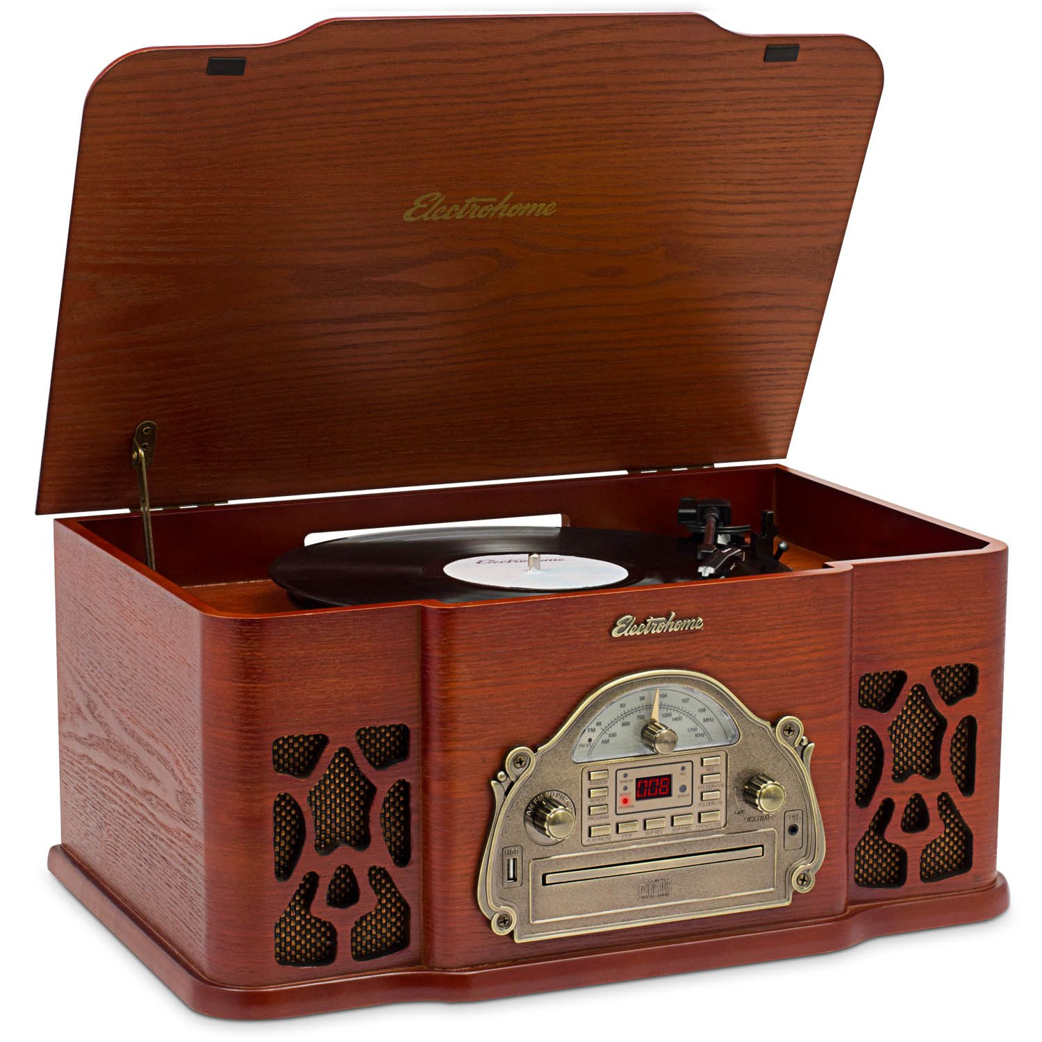 Electrohome Record Player Retro Vinyl Turntable Real Wood Stereo System