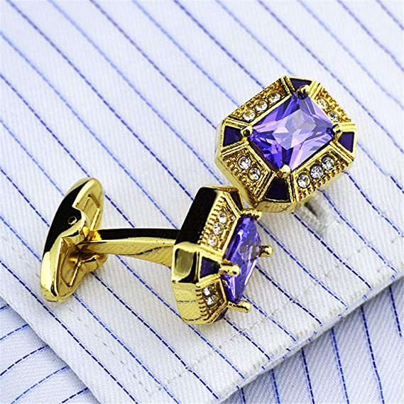 Boutons de Manchette Homme Boutons de manchette en zircon pourpre plaqu/és or de haute qualit/é for hommes chemise for homme Boutons de manchette Chemise professionnell boutons de manchette en cristal