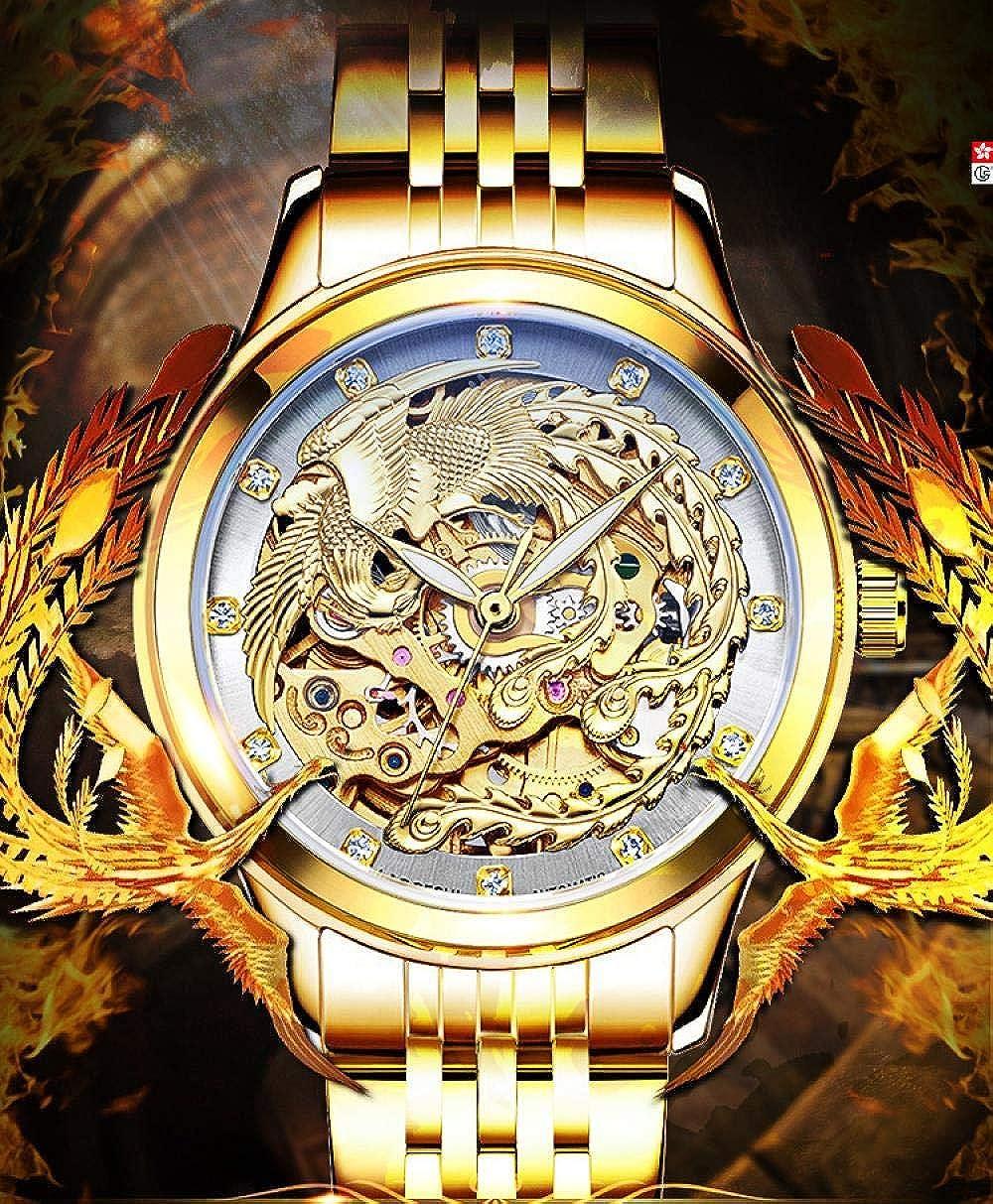 Orologi Da Polso,Orologio Da Polso Meccanico Automatico Vuoto Luminoso Con Cinturino In Acciaio Con Drago E Fenice Gold And Black Face Between Dragon Watch