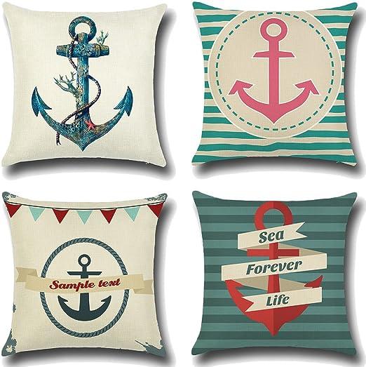 JOTOM - Juego de 4 fundas de almohada de lino y algodón suave, decorativas para el hogar, cuadradas, 45x 45cm: Amazon.es: Hogar
