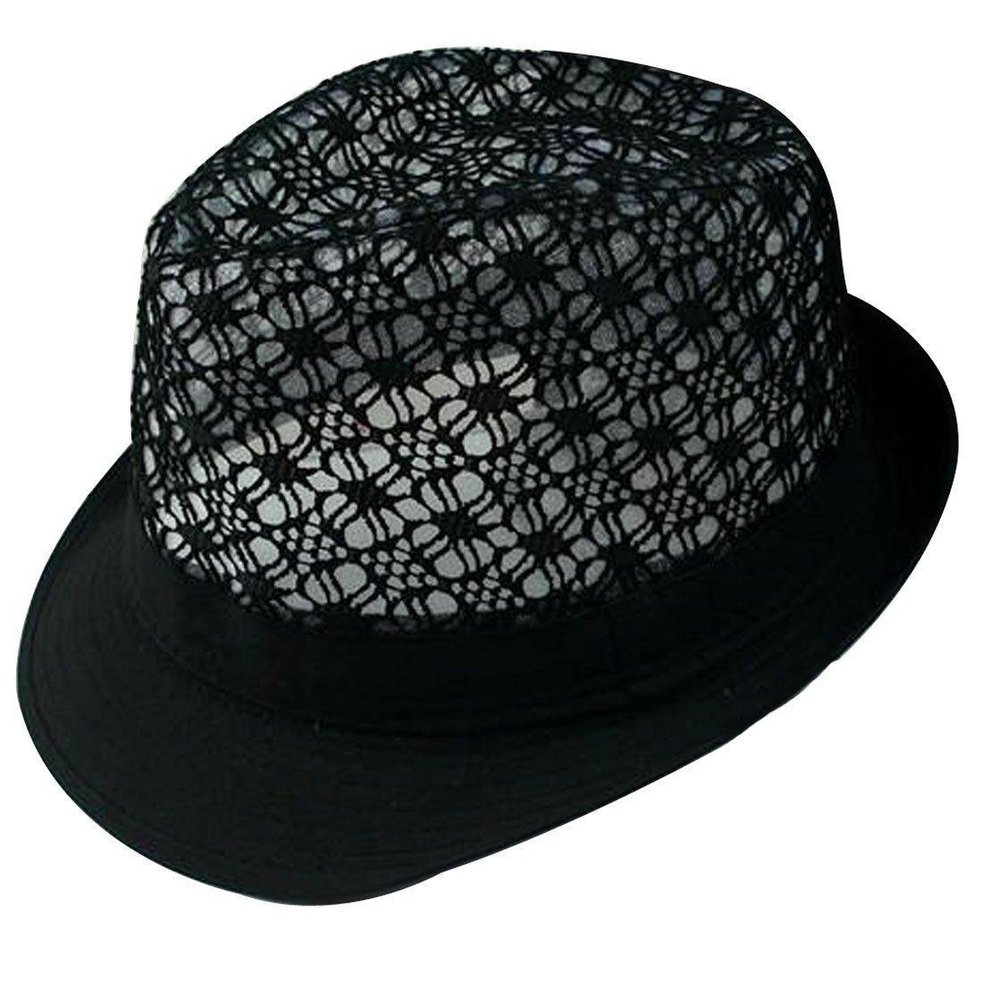 4995e2a014d Lerben Women Summer Beach Colorful Brim Fedora Hat Sun Hats Black at Amazon  Women's Clothing store: