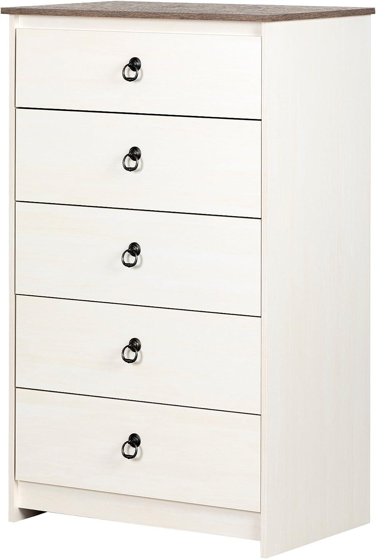 Amazon Com South Shore Plenny 5 Drawer Chest White Wash And Weathered Oak Furniture Decor