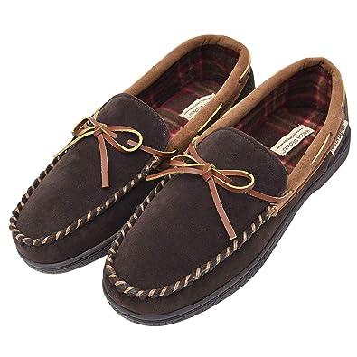 4a865a37bd6 Mens Memory Foam Slip On Indoor Outdoor Moccasin Slipper Shoe (8 M US