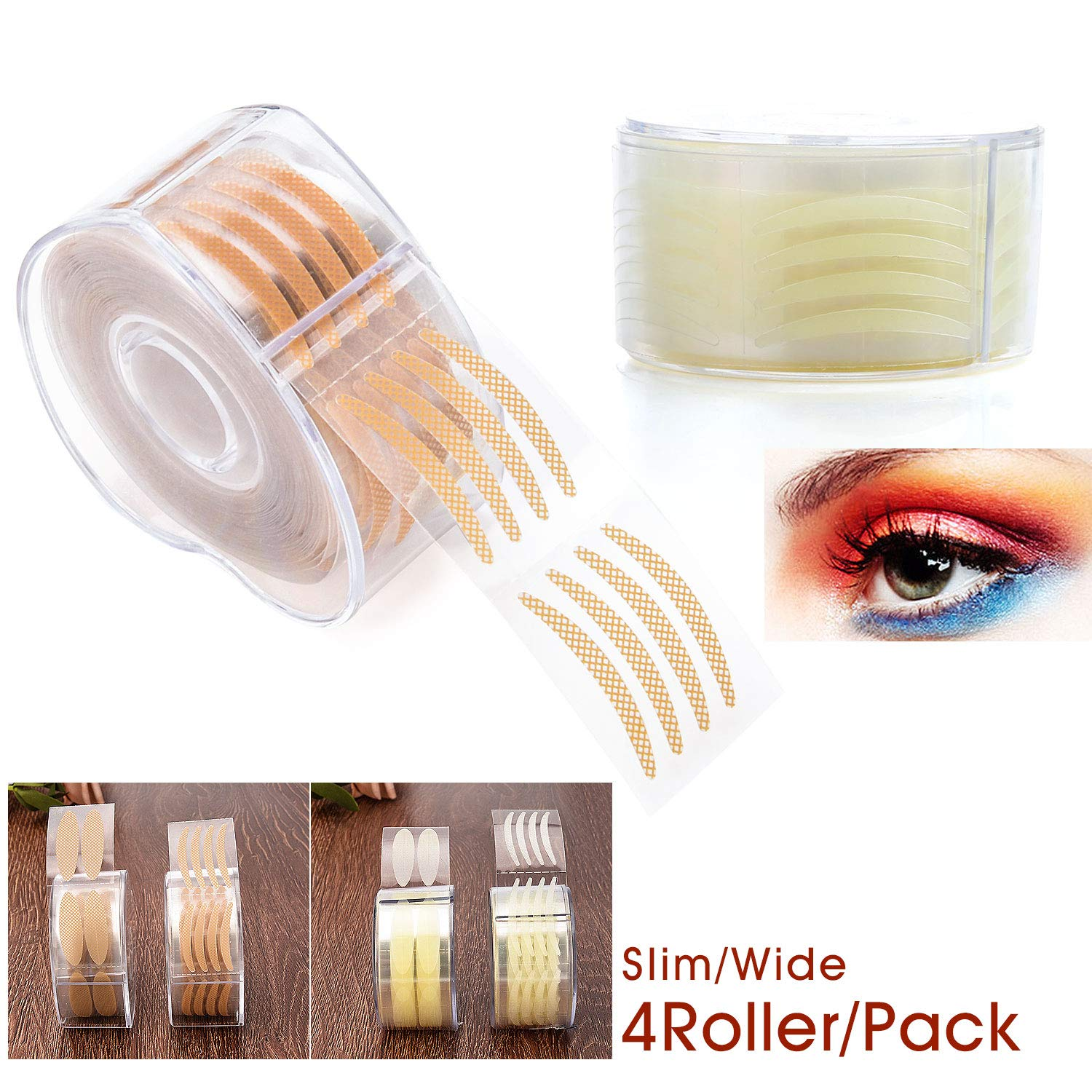 1200 Pairs Natural Invisible Double Eyelid Tape Stickers,One Side Sticky, Instant Eyelid Lift Without Surgery, Medical Grade Latex Free Hypoallergenic, Perfect for Hooded, Droopy, Uneven, Mono-eyelids, 4 Roller (1200 Pairs) Pormasbenzer