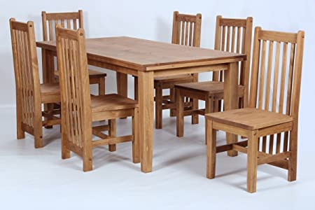 Salto Dining Table And Six Chairs Dining Set Rustic Solid Wood Wax Pine