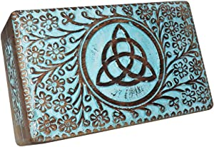 Earthly Home Vintage Worn Blue Wooden Keepsake Jewellery Box with Hinged Lid, Decorative Triquetra Engraved Box, Trinket Box for Ladies, Jewellery Storage Box, Handcrafted-Home Decor Accessories