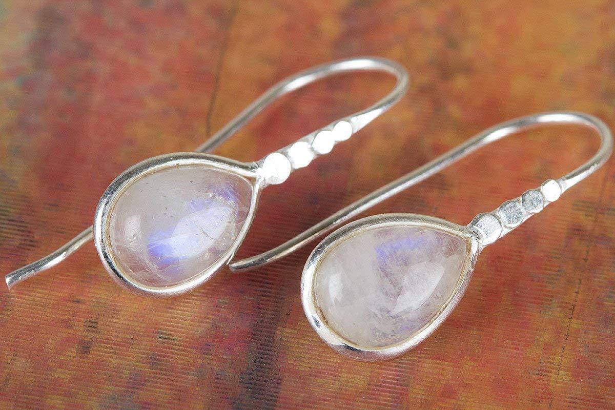 Moonstone Earring Gemstone Earring Blue Flash Earring Bridal Earring Vintage Earring Boho Earring Wedding Earring Birthstone jewelry Gypsy Earring Designer jewelry