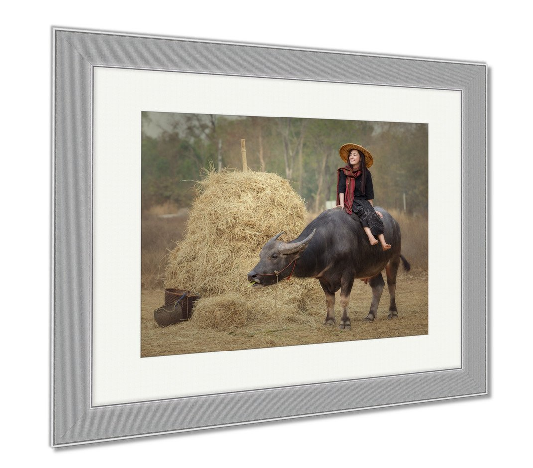 Ashley Framed Prints Asian Laos Women Lifestyle In Countryside Thai Esan Enjoy With A Buffalo In, Wall Art Home Decoration, Color, 34x40 (frame size), Silver Frame, AG6338359 by Ashley Framed Prints