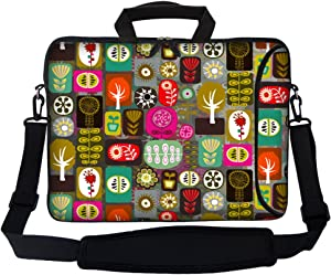 """Meffort Inc 17 17.3 inch Neoprene Laptop Bag Sleeve with Extra Side Pocket, Soft Carrying Handle & Removable Shoulder Strap for 16"""" to 17.3"""" Size Notebook Computer - Colorful Symbols"""