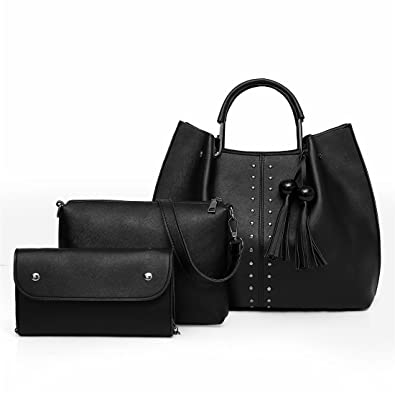 463cbd7417 Amazon.com  PERHAPS U Fashion Handbag Sets for Women Soft Leather Shoulder  Bag Designer Tote Satchel Hobo 3 Pcs Purse Set Top Handle Tassel Bag (Black)   ...