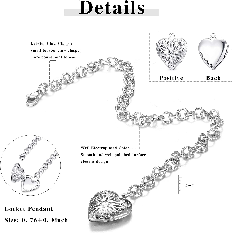 Milacolato Charm Bracelet Stainless Steel Heart Locket That Holds Memorial Photos Engraved Mom/&Kid Adjustable Bracelet Jewelry