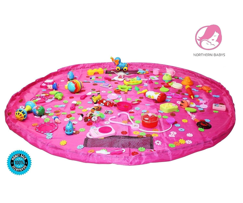 子供の遊びマットとおもちゃストレージバッグ ピンク A-1  ピンク B078H5V7FV