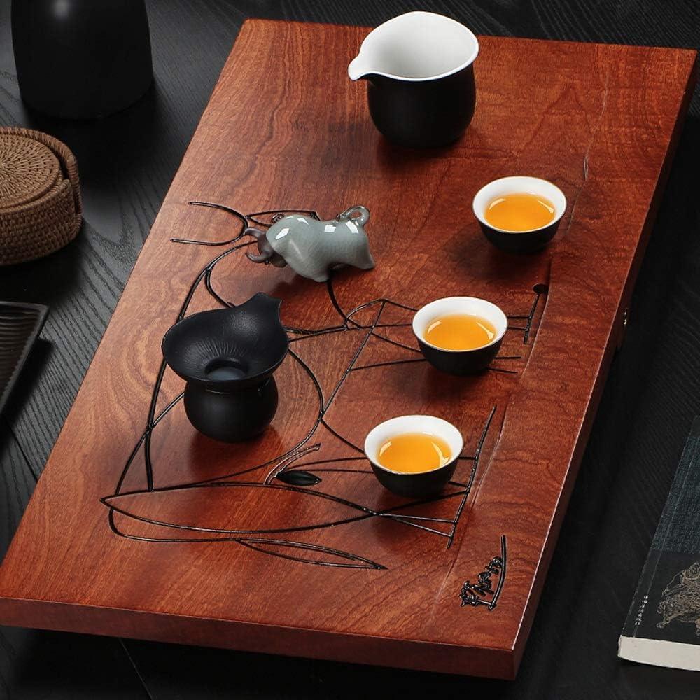 ティートレイ ホームオフィス茶屋の使用のために刻まれた牛でトレイをサービング木製茶トレイ表クラシック中国GongFu茶 (色 : Natural, サイズ : 80x40cm)