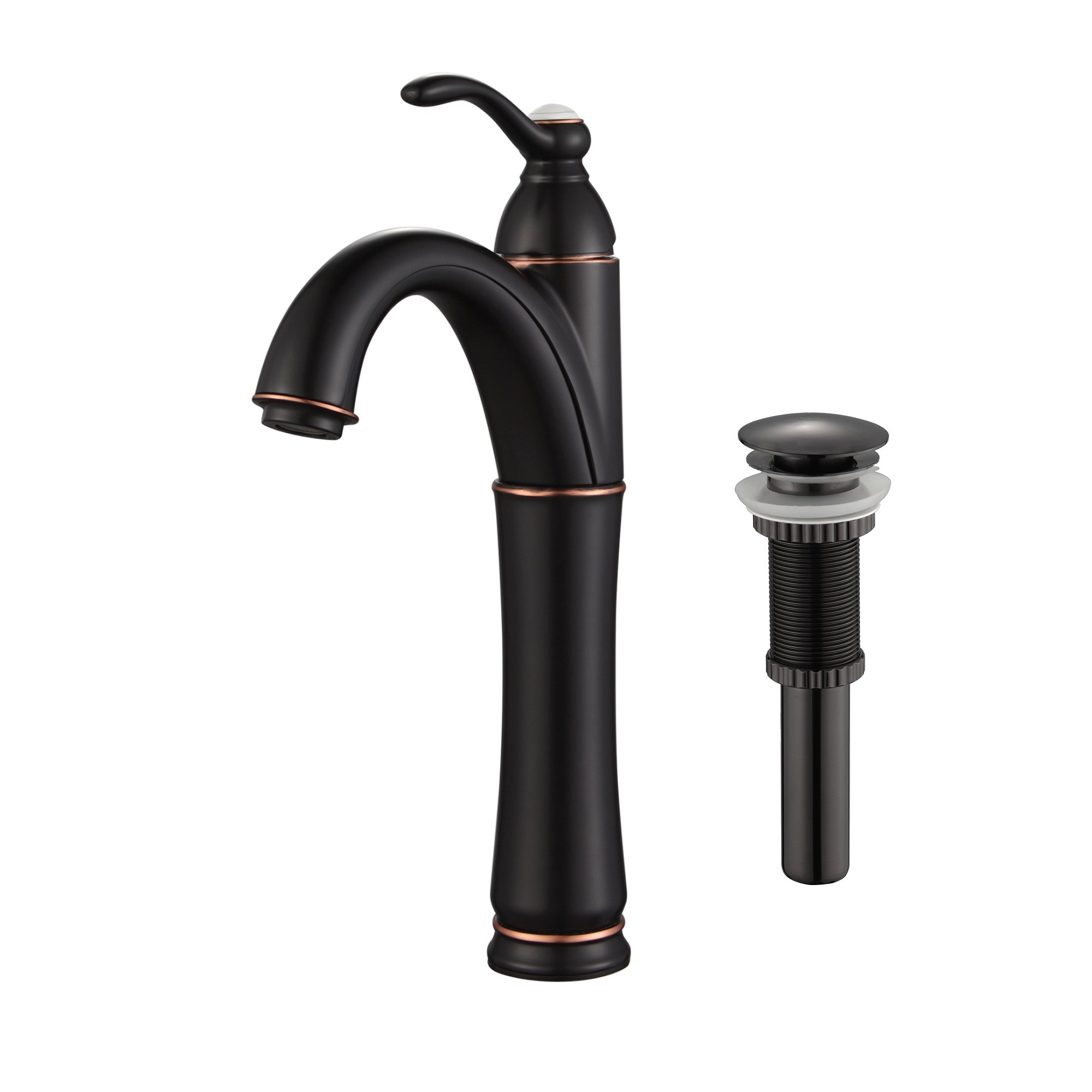Kraus FVS-1005-PU-10ORB Riviera Single Lever Vessel Bathroom Faucet with Matching Pop Up Drain Oil Rubbed Bronze by Kraus