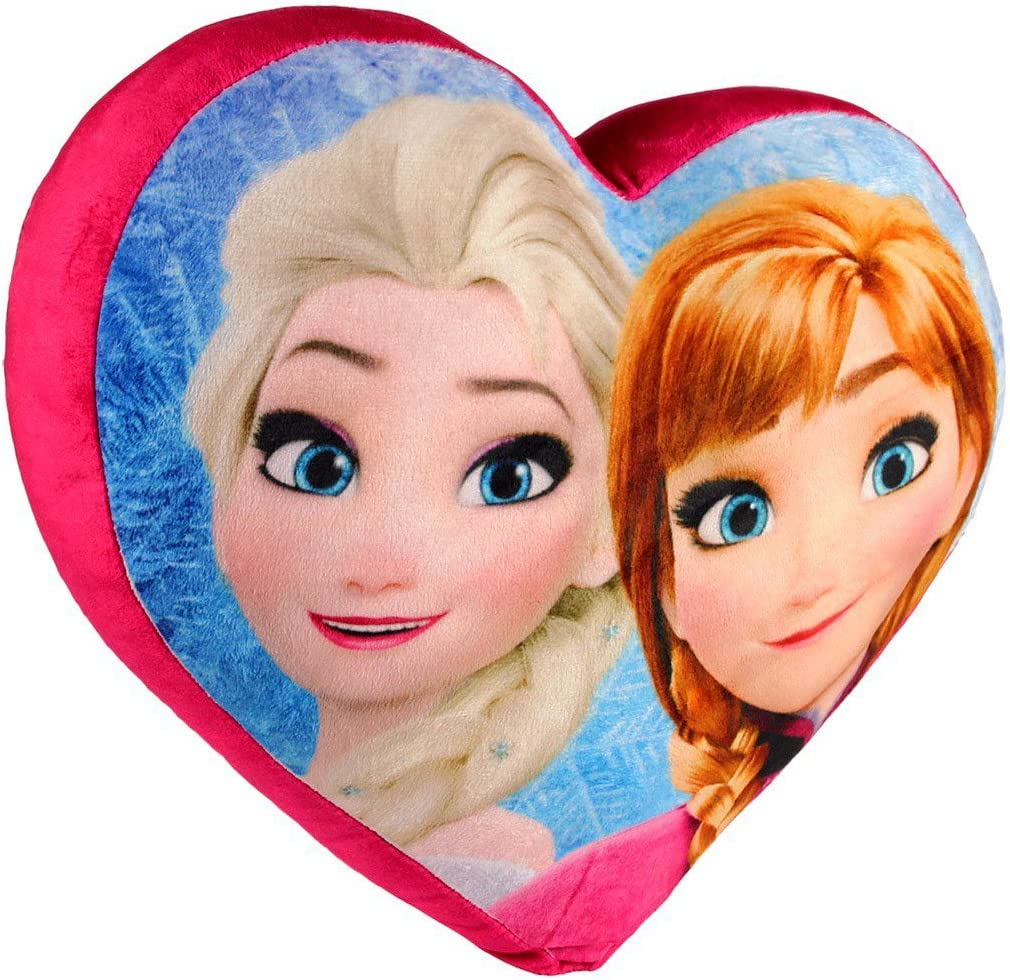 Cojín suave 3D en forma de corazón Anna y Elsa Frozen 38 x 35 cm