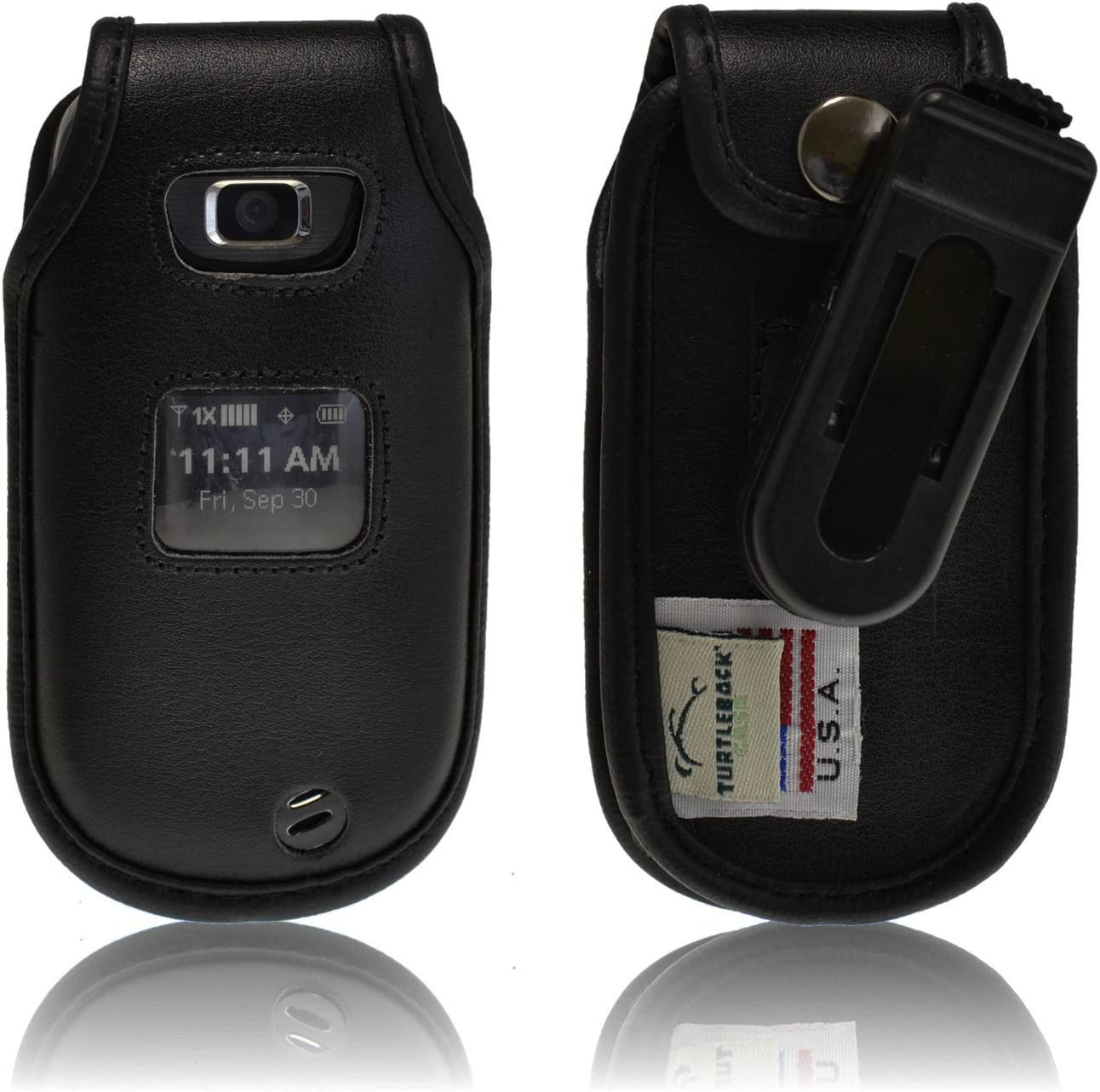 Fitted Case for LG Revere 2 by Turtleback, Black Leather with Ratcheting Plastic Belt Clip - Made in USA