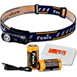 Fenix HM50R 500 Lumens Multi-Purpose Compact LED Headlamp Flashlight & 16340 Battery PLUS Additional F16340 Rechargeable Battery & LumenTac Battery Organizer